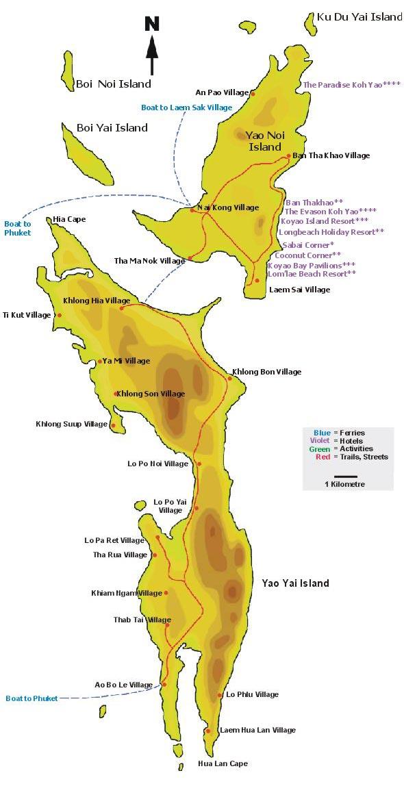 Carte Thailande Koh Yao Yai.Ko Yao Yai